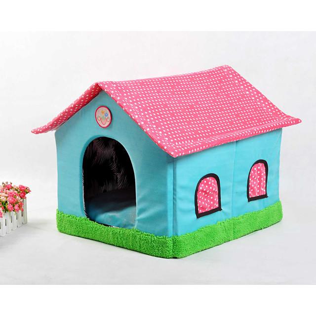 Cat Dog Bed Pet Baskets Patchwork Cartoon Soft Tent Beige Blue Blushing Pink