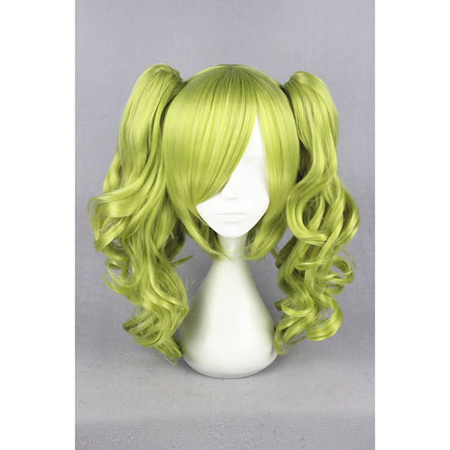 Synthetic Hair Wigs Curly Capless Cosplay Wig Short Green