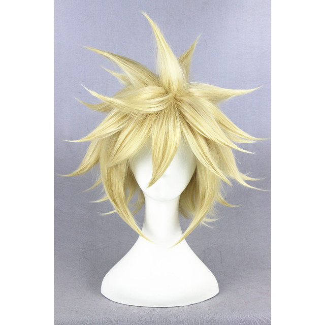 Synthetic Wig Cosplay Wig Straight Straight Wig Blonde Short Golden Blonde Synthetic Hair Women's Blonde