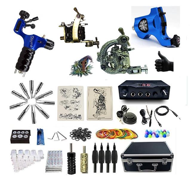 BaseKey Professional Tattoo Kit Tattoo Machine - 4 pcs Tattoo Machines, Professional Alloy 20 W LED power supply 1 steel machine liner & shader / 2 rotary machine liner & shader / 1 alloy machine