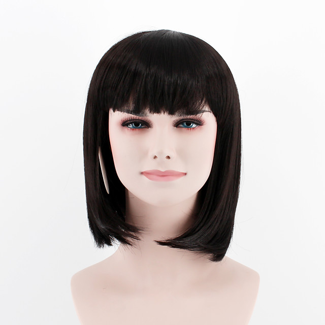 Synthetic Wig Straight Straight Wig Short Black#1B Synthetic Hair