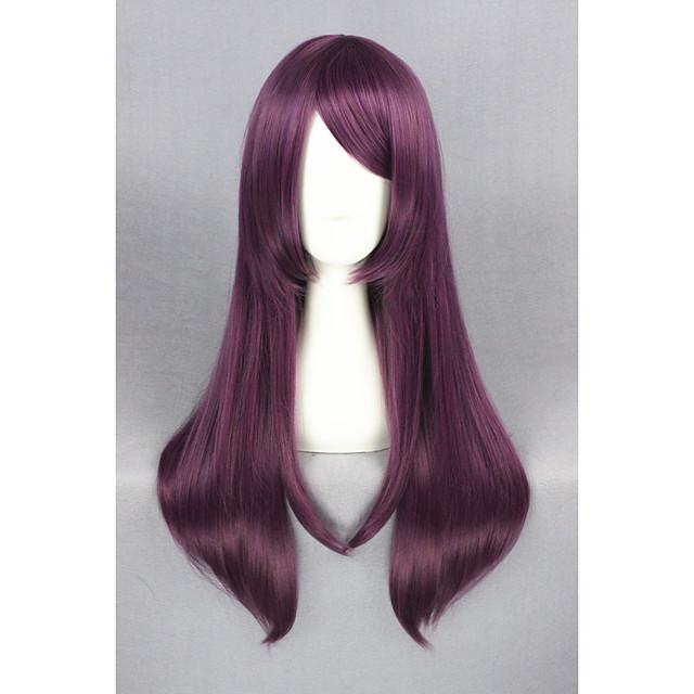 Synthetic Wig Straight Straight Wig Medium Length Purple Synthetic Hair Purple