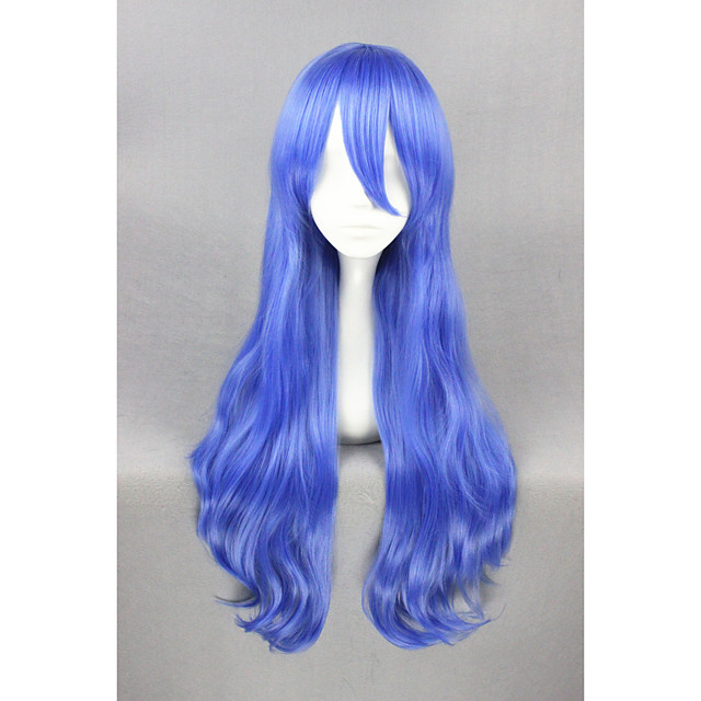 Synthetic Hair Wigs Curly Capless Cosplay Wig Short Blue