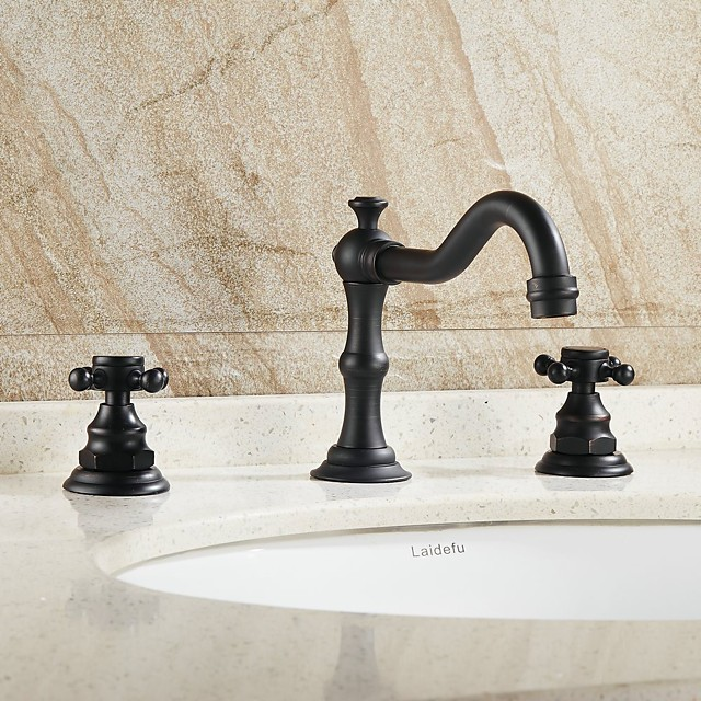 Antique Copper Bathroom Sink Faucet,Widespread Oil-rubbed Bronze Centerset Two Handles Three Holes Bath Taps with Hot and Cold Switch