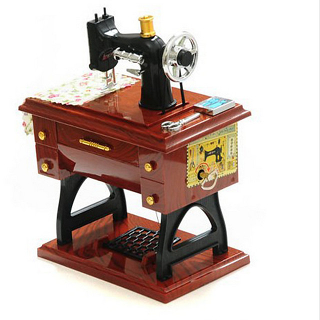 Music Box Wooden Music Box Antique Music Box Vintage Sewing Machine Unique Plastic Women's Unisex Girls' Kid's Adults Graduation Gifts Toy Gift