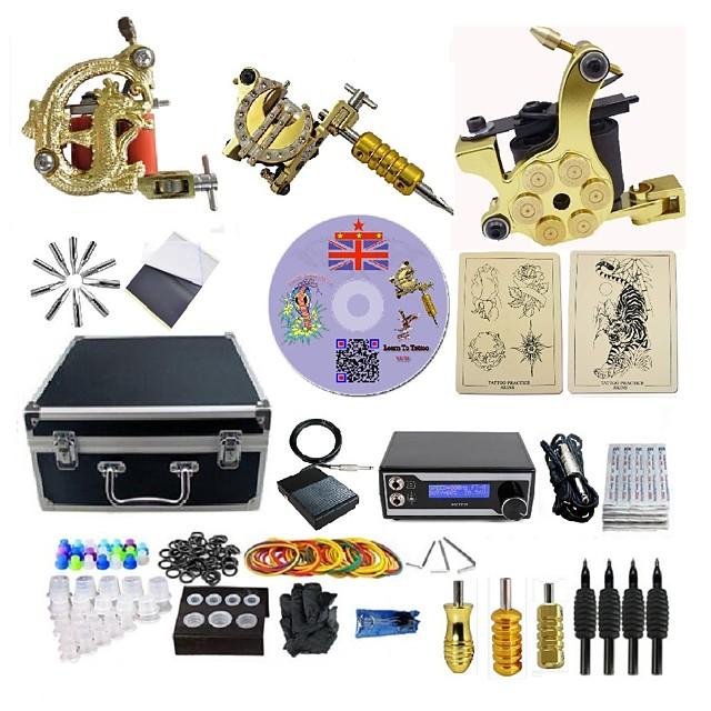 BaseKey Professional Tattoo Kit Tattoo Machine - 3 pcs Tattoo Machines, Professional 20 W LED power supply 3 alloy machine liner & shader / Case Included