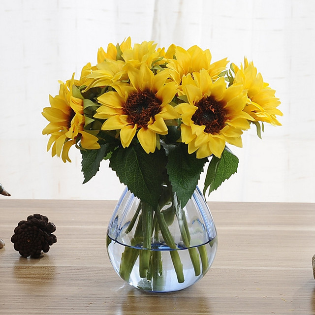 6 Branches Sunflower Artificial Flowers Home Decoration Wedding Supply 8*22cm
