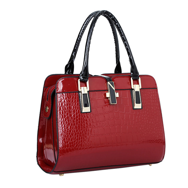 Women's Bags Patent Leather Satchel Top Handle Bag Solid Colored Crocodile Handbags Event / Party Formal Office & Career Wine Black Blue