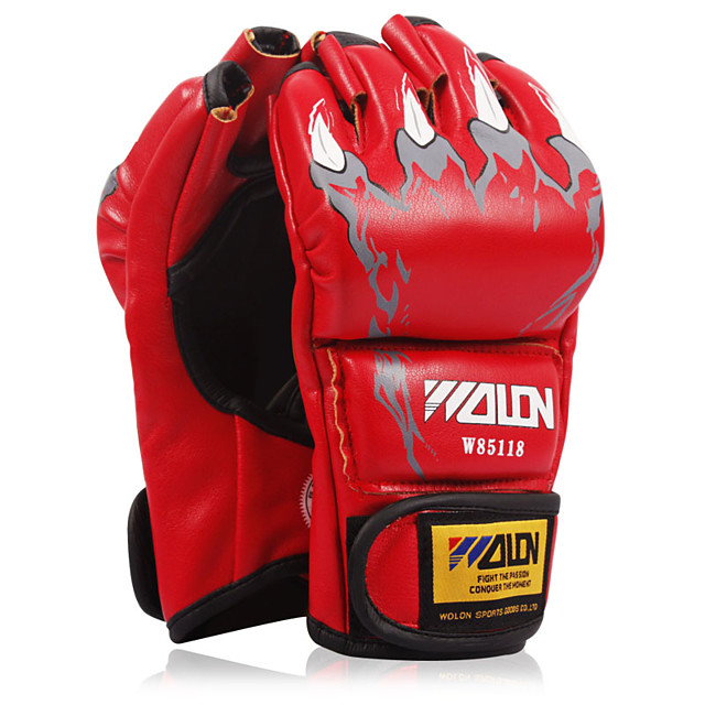 Boxing Gloves For Boxing Fingerless Gloves Protective Leather Red Blue