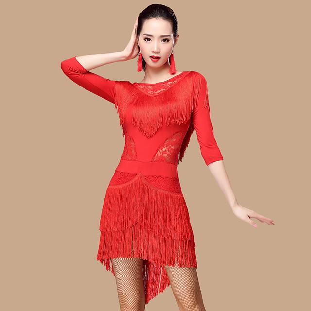 Latin Dance Dress Lace Tassel Women's Performance 3/4 Length Sleeve High Lace Milk Fiber Polyester