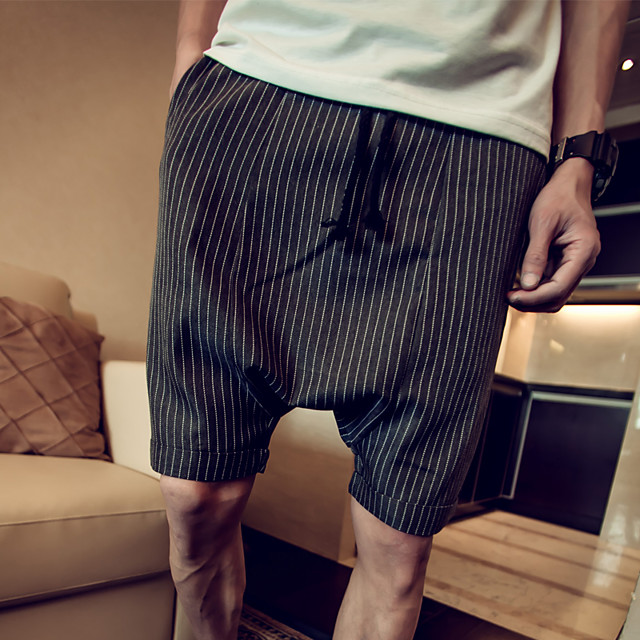 Men's Casual Loose Shorts Pants - Striped