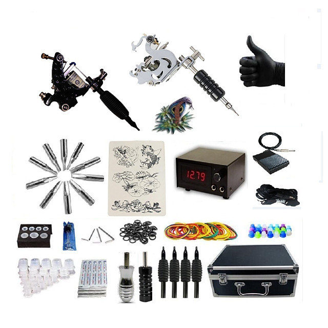 BaseKey Tattoo Machine Professional Tattoo Kit - 2 pcs Tattoo Machines LCD power supply Case Included 2 steel machine liner & shader