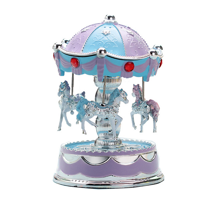 Music Box Carousel Music Box European Style Carousel Merry Go Round Cute Lighting Unique Plastic Women's Unisex Girls' Kids Kid's Adults Graduation Gifts Toy Gift