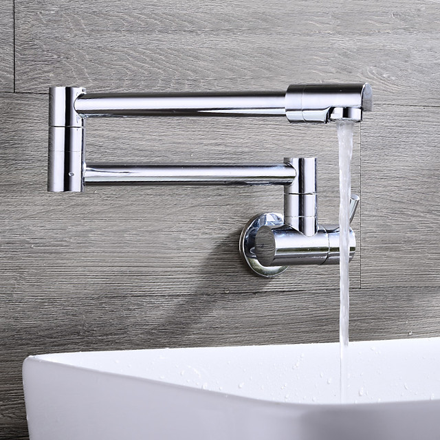 Contemporary Pot Filler Ceramic Valve Chrome Wall Mounted Kitchen Faucet Single Handle One Hole Chrome Pot Filler Wall Mounted Contemporary Kitchen Taps 5784576 2021 62 49