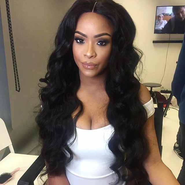 Synthetic Lace Front Wig Body Wave Body Wave Lace Front Wig Long Natural Black Synthetic Hair Women's Natural Hairline Middle Part Black