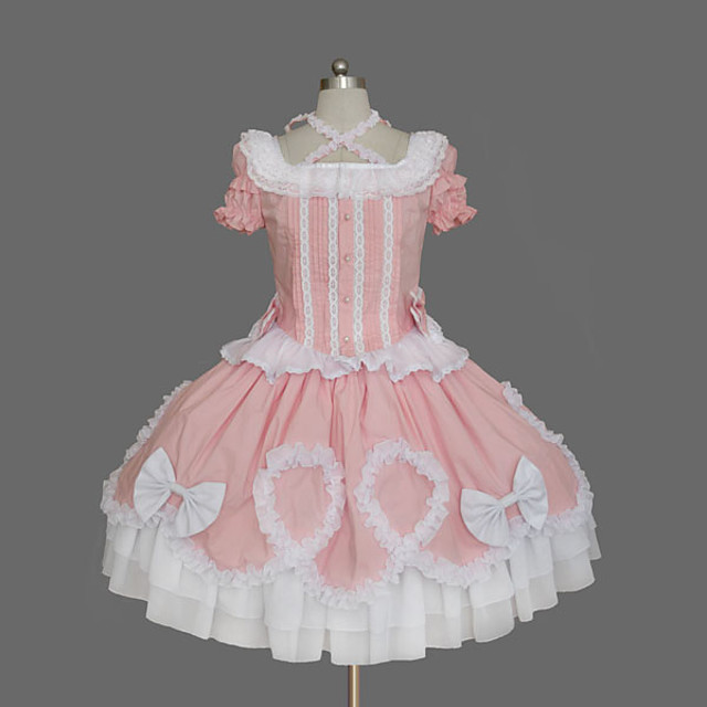 Princess Sweet Lolita Dress Women's Girls' Cotton Japanese Cosplay Costumes Plus Size Customized Pink Ball Gown Solid Colored Bowknot Cap Sleeve Bell Sleeve Short Sleeve Short / Mini / Tuxedo