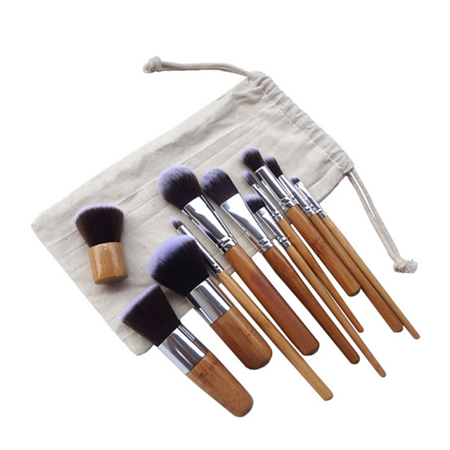 Professional Makeup Brushes Makeup Brush Set 11pcs Portable Full Coverage Synthetic Hair Wood Makeup Brushes for