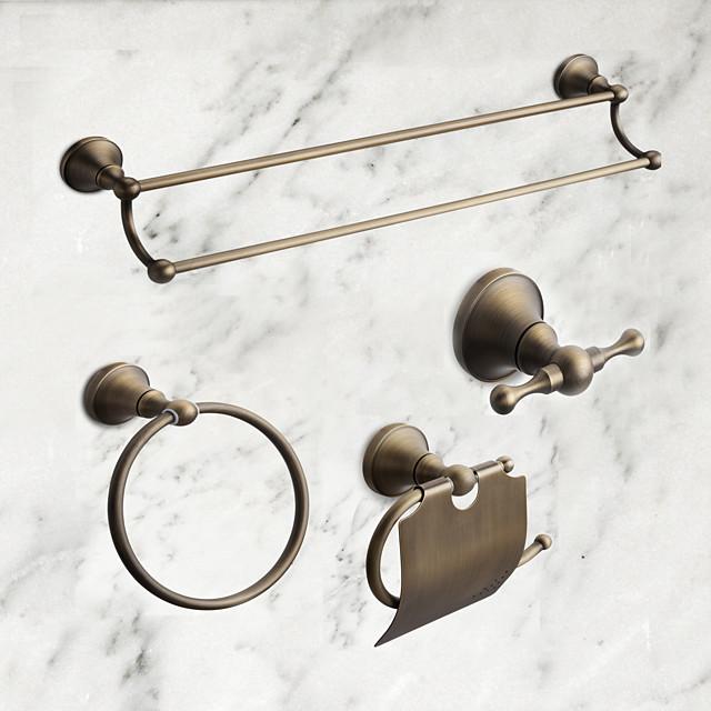 Bathroom Accessory Set Antique Brass 4pcs - Hotel bath Toilet Paper Holders / Robe Hook / tower bar