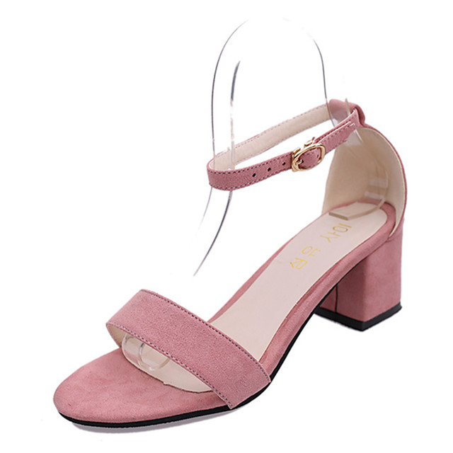 Women's Sandals Block Heel Sandals Chunky Heel Open Toe Rhinestone / Buckle PU(Polyurethane) Club Shoes Spring / Summer Black / Pink / Party & Evening / Party & Evening / EU39