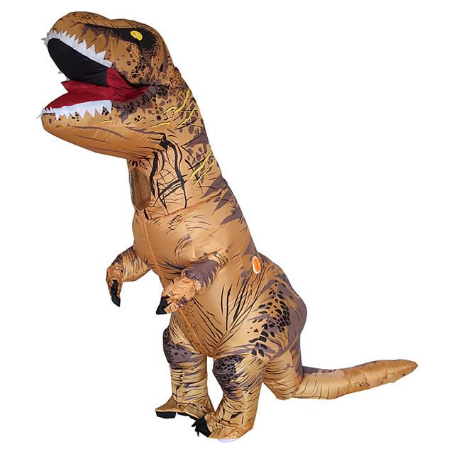Dinossauro T-Rex Fantasias de Cosplay Artigos de Halloween Fantasia Inflável Homens Mulheres Cosplay de Filmes Dia Das Bruxas Marron Collant / Pijama Macacão Ventilador Dia Das Bruxas Ano Novo