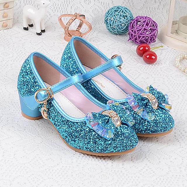 Girls' Heels Mary Jane Basic Pump Flower Girl Shoes PU Little Kids(4-7ys) Big Kids(7years +) Dress Crystal Bowknot Blue Pink Gold Spring & Summer