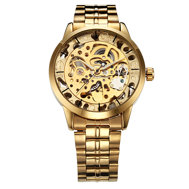 WINNER Men's Skeleton Watch Wrist Watch Analog Automatic self-winding Luxury Hollow Engraving / Stainless Steel