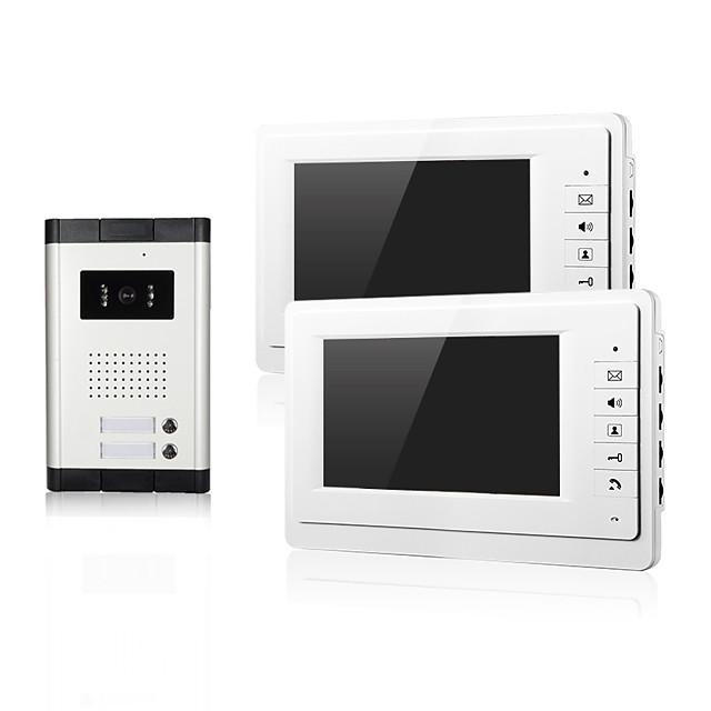Wired Video Intercom Doorbell 7 Inch Hands-free 800*480 Pixel One to Two Video Doorphone Door Phone Doorbell Night Vision Cmos Camera 2 Monitors for Home Door Access Control Security