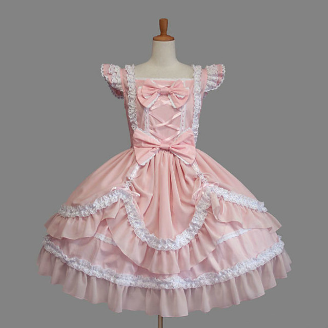 Princess Sweet Lolita Dress Women's Girls' Cotton Japanese Cosplay Costumes Plus Size Customized Pink Ball Gown Solid Color Fashion Cap Sleeve Short Sleeve Short / Mini / Tuxedo / High Elasticity