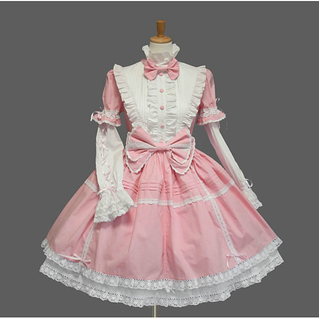Princess Sweet Lolita Dress Women's Girls' Cotton Japanese Cosplay Costumes Plus Size Customized Pink Ball Gown Solid Color Fashion Cap Sleeve Bell Sleeve Short Sleeve Short / Mini / Tuxedo