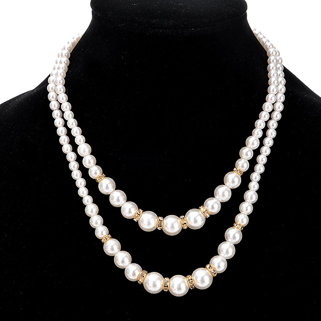 Women's Pearl Beaded Necklace Double Ladies Double-layer Fashion Euramerican Imitation Pearl Alloy Gold Silver Necklace Jewelry For Wedding