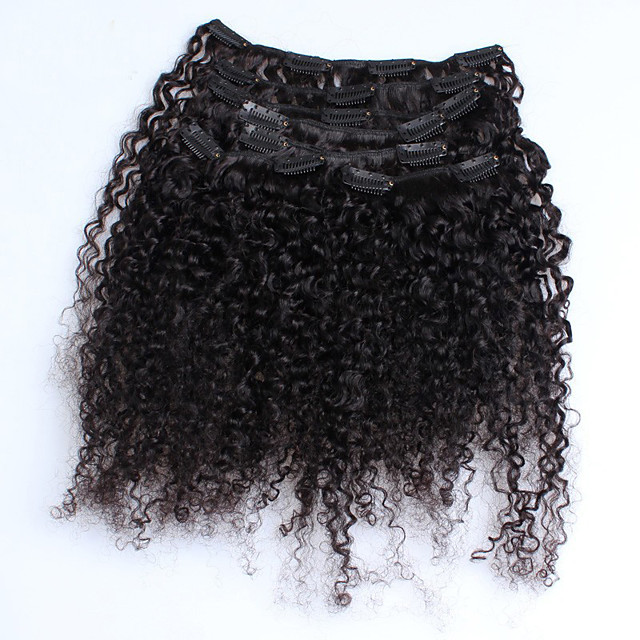 Clip In Human Hair Extensions Kinky Curly Human Hair Human Hair Extensions Women's Natural Black