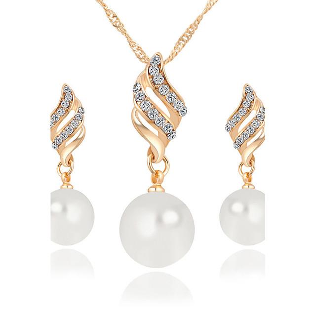 Pentru femei Seturi de bijuterii Pandative Colier / cercei Infinit femei Lux Stil Atârnat Elegant Modă Perla Cristal Imitație de Perle Ștras cercei Bijuterii Argintiu / Auriu Pentru Cadouri de