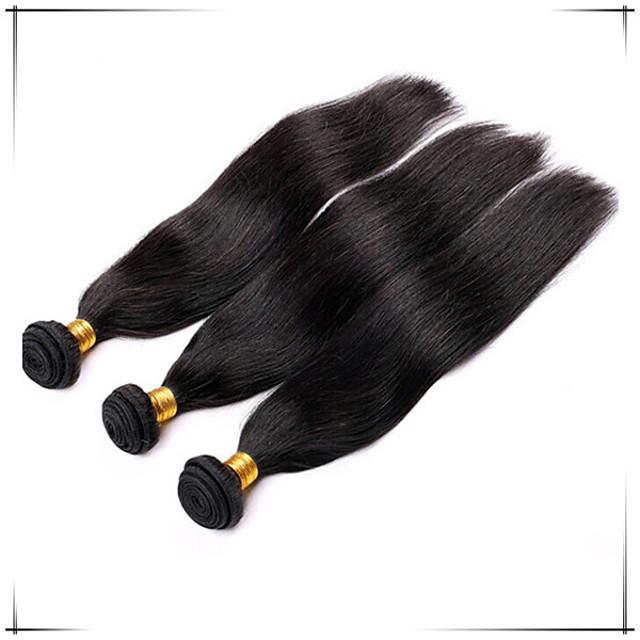 Brasilialainen Suora Runsaat laineet Aidot hiukset Hiukset kutoo Hiukset kutoo Hiukset Extensions / Lyhyt