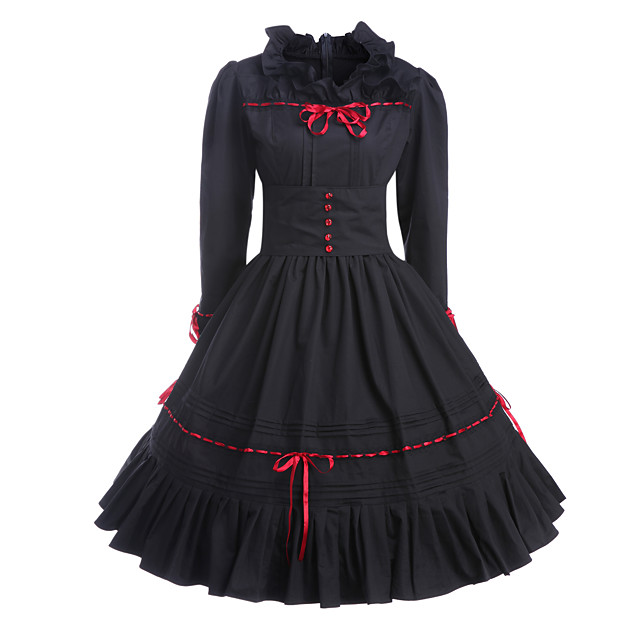 Gothic Lolita Vintage Inspired Dress Women's Girls' Cotton Party Prom Japanese Cosplay Costumes Plus Size Customized Black Ball Gown Vintage Long Sleeve Medium Length / Gothic Lolita Dress