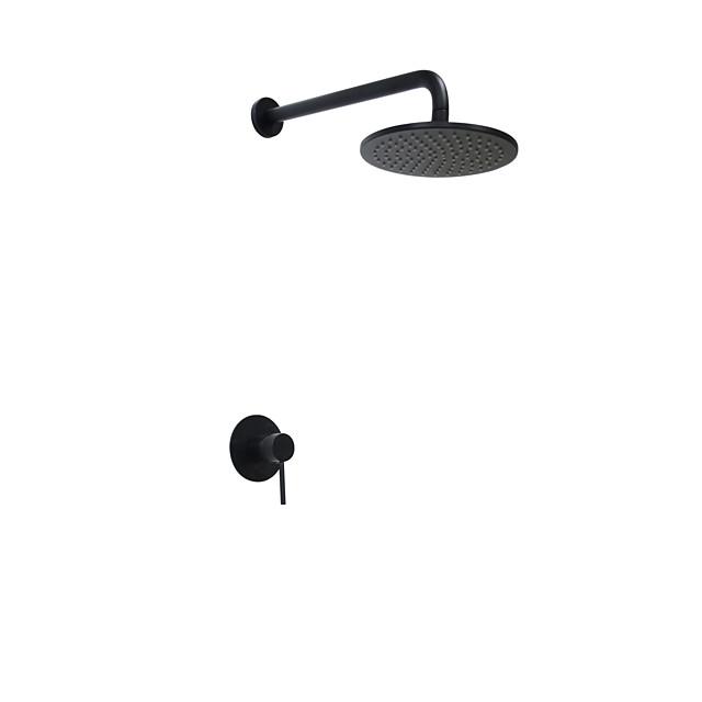 Shower Faucet Set - Rainfall Round Oil-rubbed Bronze Wall Mounted Ceramic Valve Bath Shower Mixer Taps / Brass