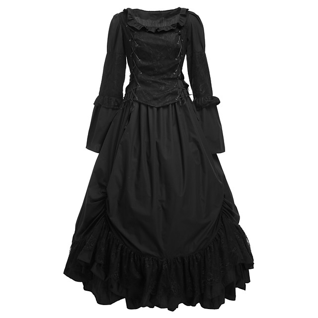 Gothic Lolita Dress Women's Girls' Cotton Party Prom Japanese Cosplay Costumes Plus Size Customized White Ball Gown Solid Colored Long Sleeve Long Length