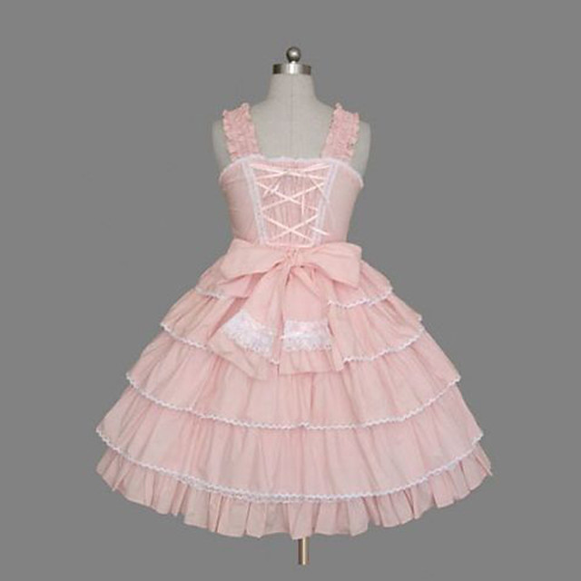 Princess Sweet Lolita Classic Lolita Dress JSK / Jumper Skirt Women's Girls' Cotton Japanese Cosplay Costumes Plus Size Customized Pink Ball Gown Solid Color Fashion Vintage Cap Sleeve Sleeveless