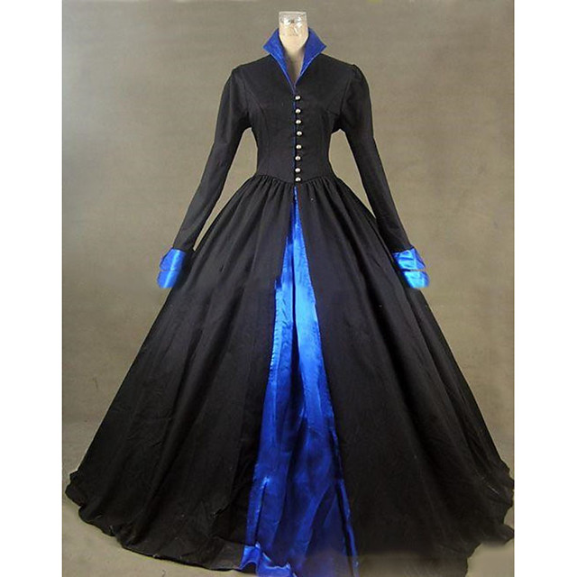 Rococo Victorian 18th Century Dress Party Costume Masquerade Women's Satin Costume Black Vintage Cosplay Party Prom Long Sleeve Floor Length Ball Gown Plus Size Customized