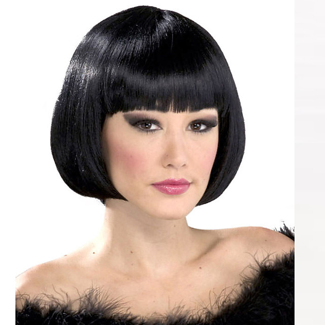 Synthetic Wig Straight Straight Bob With Bangs Wig Short Natural Black Synthetic Hair Women's Black