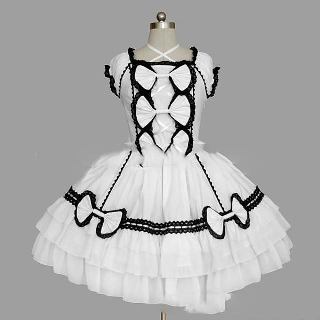 Princess Sweet Lolita Dress Women's Girls' Cotton Japanese Cosplay Costumes Plus Size Customized White / Black Ball Gown Vintage Cap Sleeve Short Sleeve Short / Mini