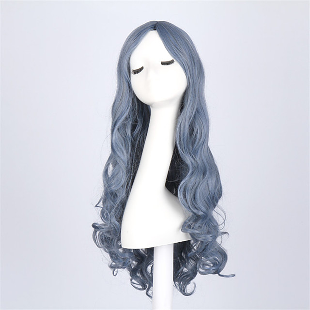 Synthetic Wig Wavy Wavy Wig Long Blue Synthetic Hair Blue