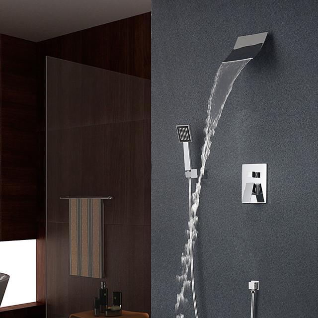 Shower Set Set - Waterfall Contemporary / Modern Style Chrome Wall Mounted Ceramic Valve Bath Shower Mixer Taps / Brass