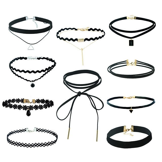 Women's Jewelry Set Pendant Necklace Black Choker Ladies Tassel Punk Hip-Hop Lace Earrings Jewelry Black For Casual / Daily Athleisure Outdoor