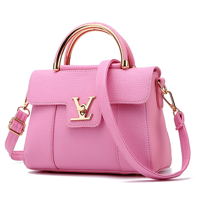 Women Bags PU Shoulder Bag for Casual Outdoor All Seasons Red Blushing Pink Beige Gray Light Purple