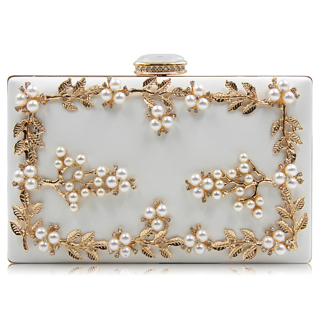 Women's Bags PU Leather Evening Bag Rhinestone Petal Beading Party Wedding Event / Party Evening Bag Wedding Bags Handbags White Black Red Gold