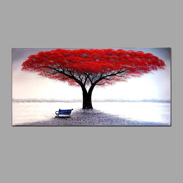 Hand-painted Red Tree Oil Painting Fallen Leaves Contemporary Art Decor Ready to Hang 100*50cm