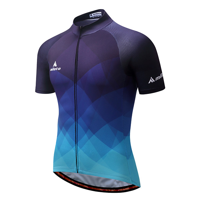 Miloto Men's Short Sleeve Cycling Jersey Summer Coolmax® Polyester Purple Yellow Red Gradient Bike Jersey Quick Dry Reflective Strips Back Pocket Sports Patterned Mountain Bike MTB Road Bike Cycling