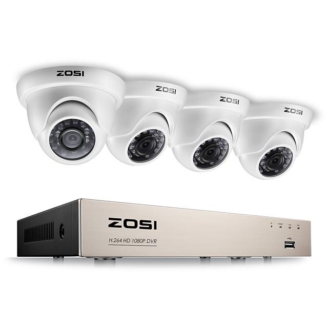 zosi® 2.0mp 1080p hd 4 ch dvr tvi طقم المراقبة 4 قطع 2000tvl ir في الهواء الطلق للرؤية الليلية كاميرا cctv نظام