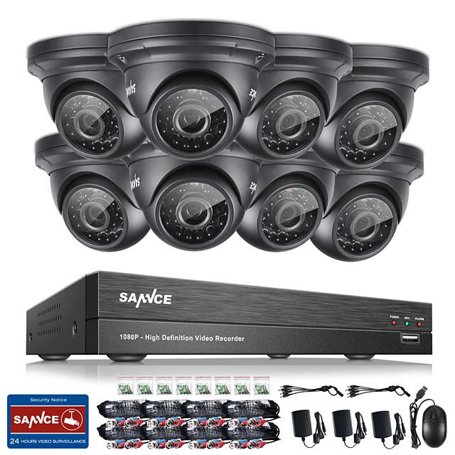 Sannce® 8ch cctv Sicherheitssystem onvif 1080p ahd / tvi / cvi / cvbs / ip 5-in-1 dvr mit 8 * 2.0mp wasserdichte Kameras kein hdd