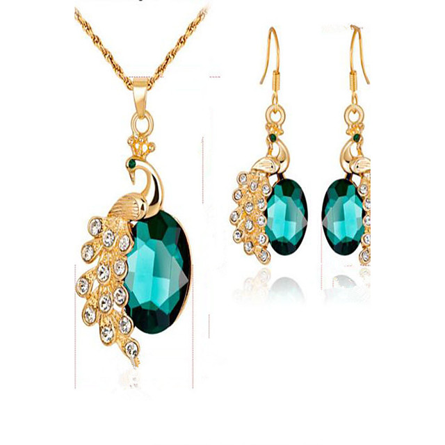 Women's Synthetic Emerald Synthetic Diamond Bridal Jewelry Sets Oval Cut Animal Ladies Fashion Gold Plated Earrings Jewelry Red / Green / Blue For Event / Party Dailywear Gift